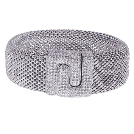 14K White Gold Diamond Soft Mesh Buckle Bracelet