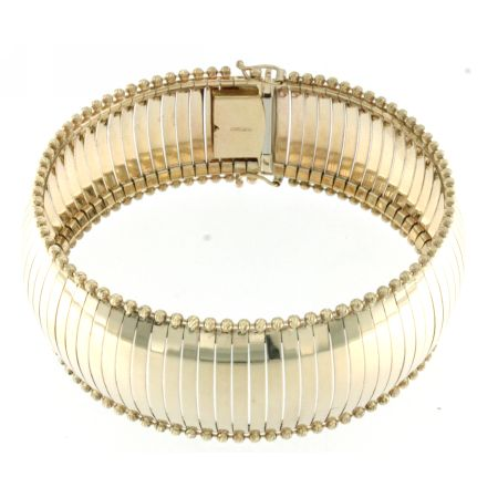 14K Yellow Gold Dome Omega DC Bead on Age Satin Bracelet