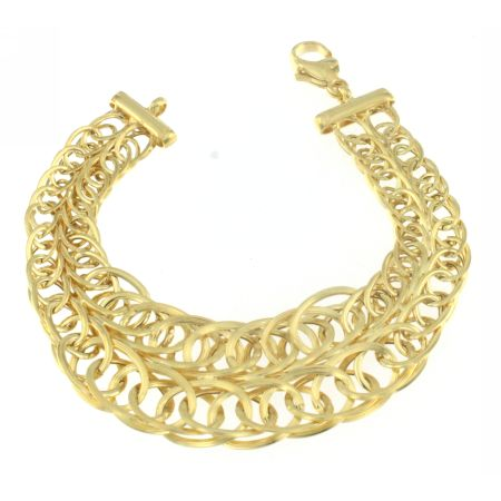 14K Yellow Gold Double Oval Link Bracelet
