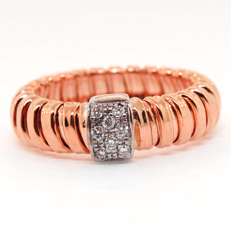14K Rose Gold Stripes Diamond Ring