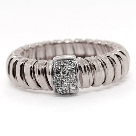 14K White Gold Stripes Diamond Ring