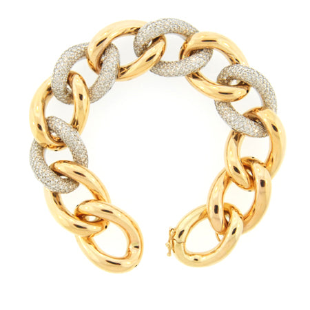 14K Oval Links Diamond Yellow Gold Bracelet