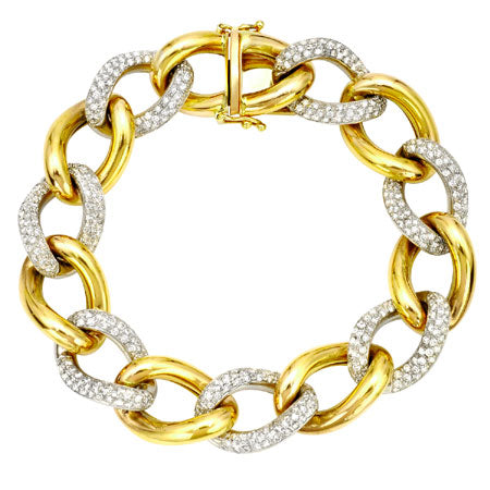 14K Yellow Gold Diamond Oval Links Bracelet