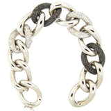 14K White Gold Oval Links White and Black Diamond Bracelet
