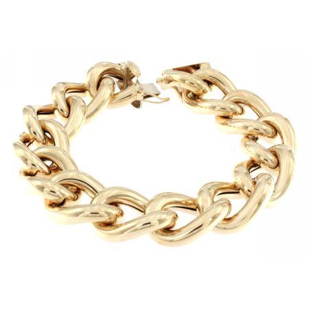 14K Yellow Gold Oval Twisted Elegant Link Bracelet