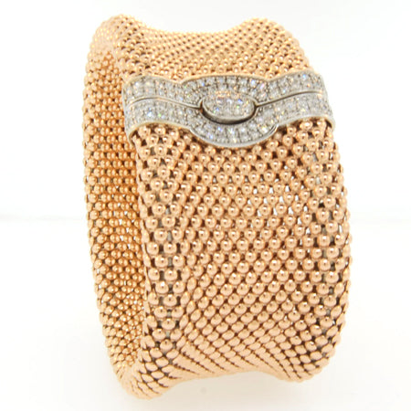 "14K Rose Gold Diamond Soft Mesh 1 1/4"" Bracelet"
