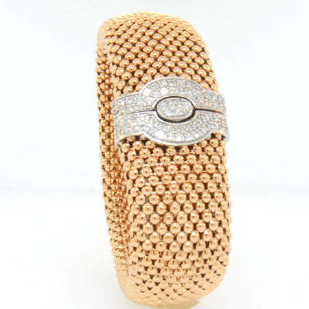 "14K Rose Gold Diamond Slim Soft Mesh 1 1/4"" Bracelet"