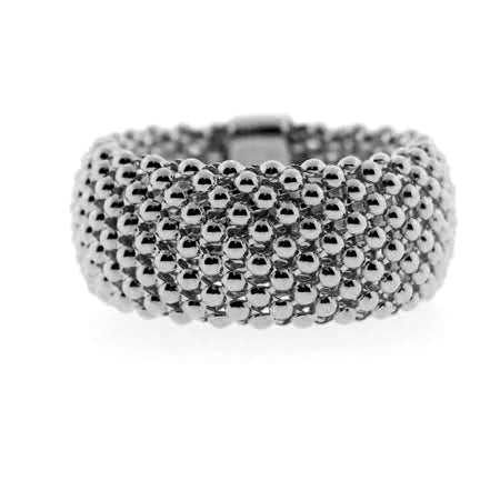14K Soft Mesh Black Rhodium Gold Ring