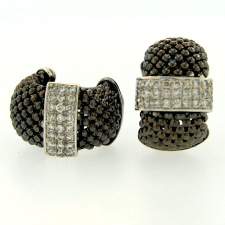 14K Black Rhodium Gold Soft Mesh Diamond Earring