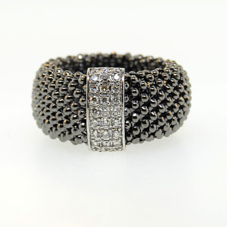 14K Soft Mesh Black Rhodium Gold Diamond Ring
