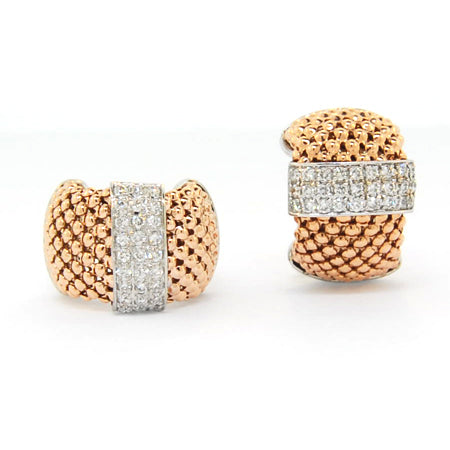 14K  Rose Gold Soft Mesh Diamond Earring
