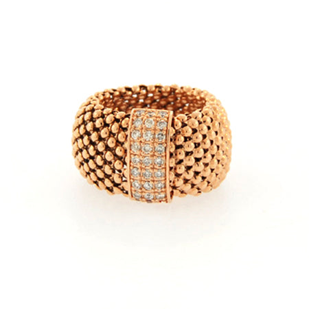 14K Soft Mesh Rose Gold Diamond Ring