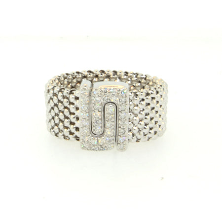 14K Soft Mesh White Gold Diamond Ring