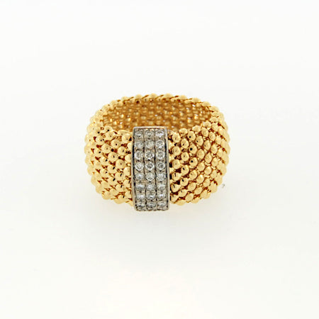 14K Soft Mesh Yellow Gold Diamond Ring