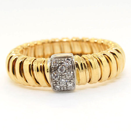 14K Yellow Gold Stripes Diamond Ring