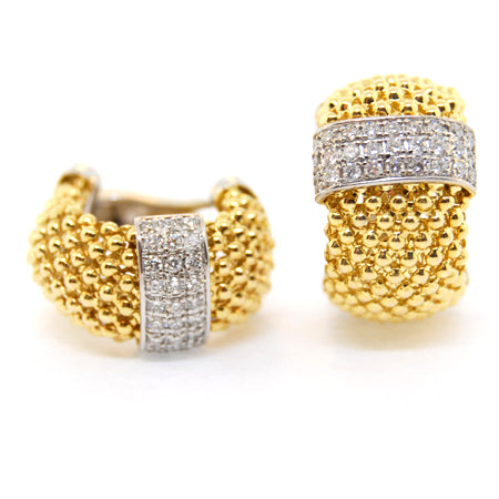 14 K Yellow Gold Soft Mesh Diamond Earring