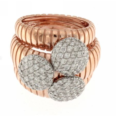 18K Rose Gold Diamond 3 Circle Goose Ring