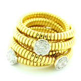 18K Yellow Gold Diamond 3 Circle Goose Wrap Around Ring