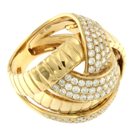 18K Yellow Gold Diamond 3 Large Bar Cross Over Ring