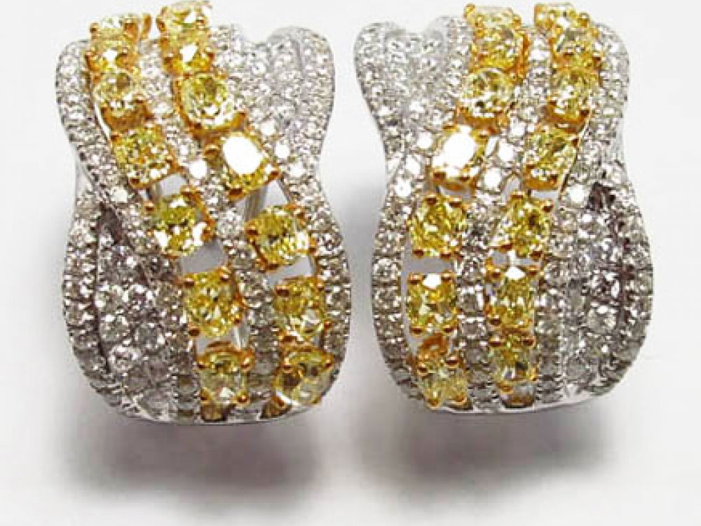 18kw Diamond1.29 Yellow Diamond 2.24 Earring