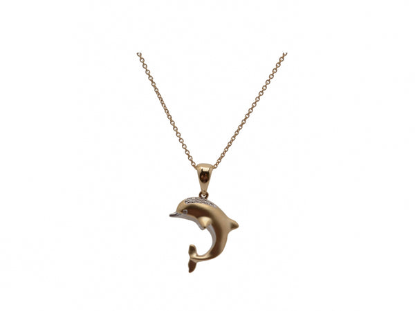 14kr Black Rhodium Dia 0.03 Dolphin Necklace