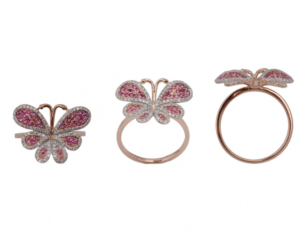 14ky Diamond 0.35 Butterfly Ruby 0.30 Ring