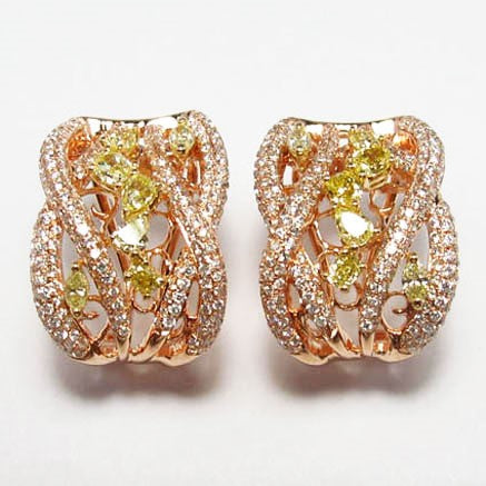 18kyp Diamond 1.25 Yellow Diamond 1.05 Earring