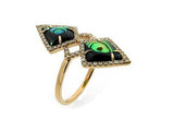 14kr Diamond 0.29 Abalone Shell 1.48 Ring