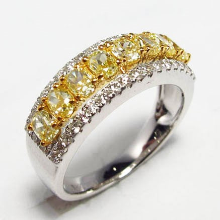 18kwy Diamond 0.43 Yellow Diamond 1.11 Ring