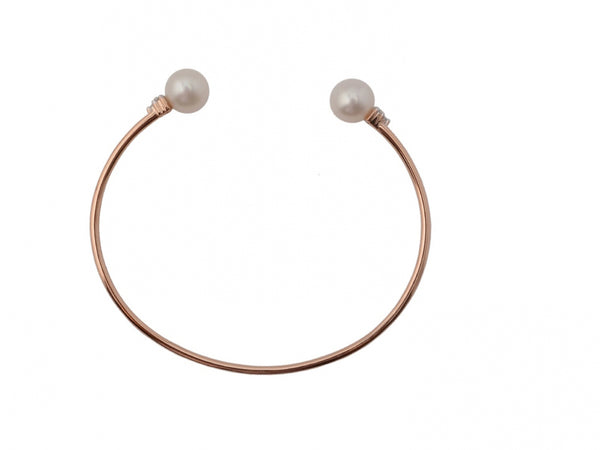 14kr Diamond 0.07 Pearl Bangle