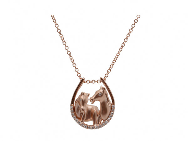 14kr Dia 0.16 Horse Necklace