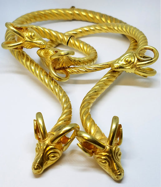 Antelope Inspired 18K Yellow Gold Necklace, Bangle and Arm Cuff Set