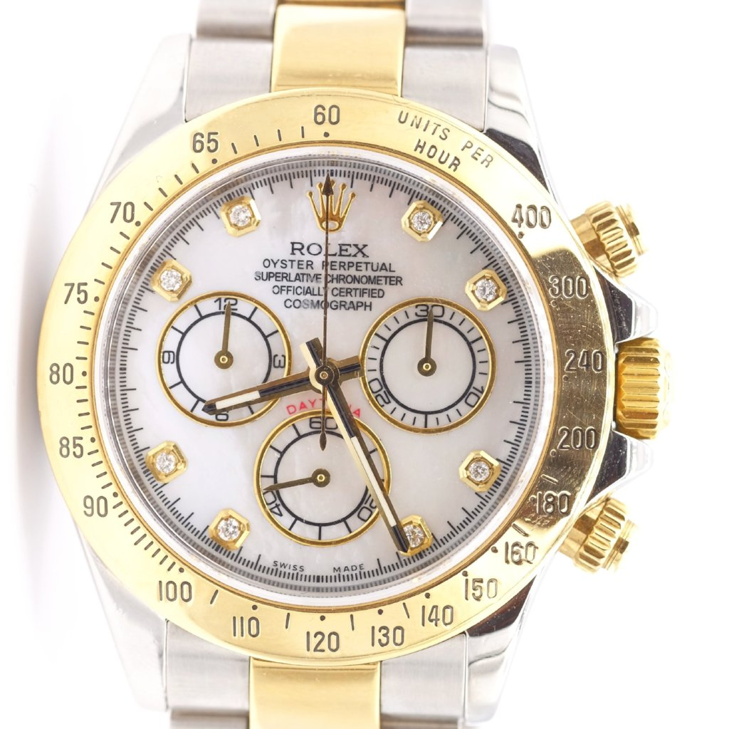 Pre-Owned Rolex Mother of Pearl Two Tone Daytona Superlative Chronometer Watch