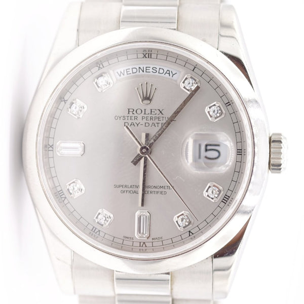 Pre-Owned Rolex Platinum Diamond Dial Silver Face Superlative Chronometer Watch