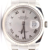 Pre-Owned Rolex Silver Face Oyster Perpetual Datejust Chronometer Watch