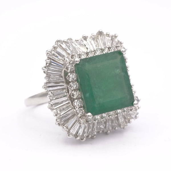 Square Emerald Studded Diamond Halo Platinum Ring
