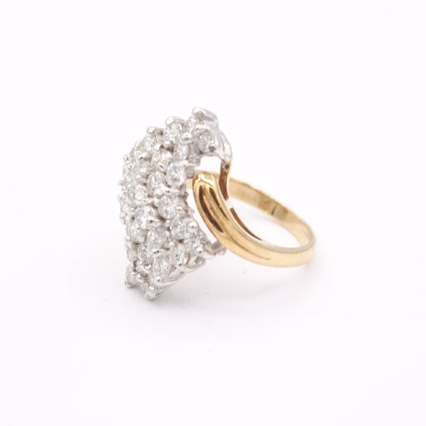 14K Yellow Gold Diamond Twisted Cluster Ring