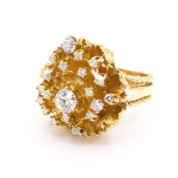 14K Yellow Gold Diamond Galaxy Ring