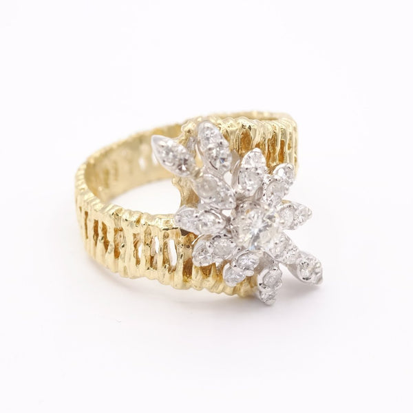 14K Yellow Gold Diamond Dazzling Floral Twist Ring