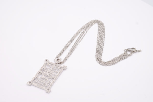 14 K White Gold & Diamond Studded Rectangular Pendant Necklace