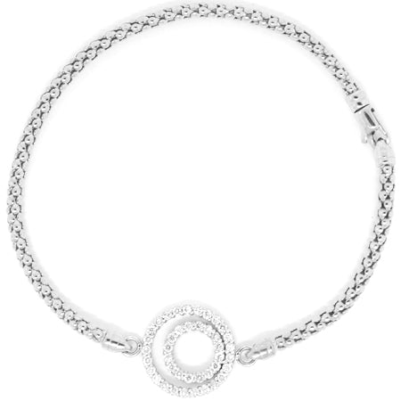 14K White Gold Diamond Double Halo Mesh Bracelet