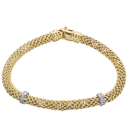 14K Yellow Gold Diamond Mesh Roundelle Bracelet