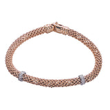 14K Rose Gold Diamond Mesh Roundelle Bracelet