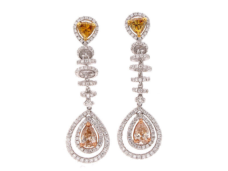 18wyr Diamond 1.36 Yellow Diamond 1.57 Earring