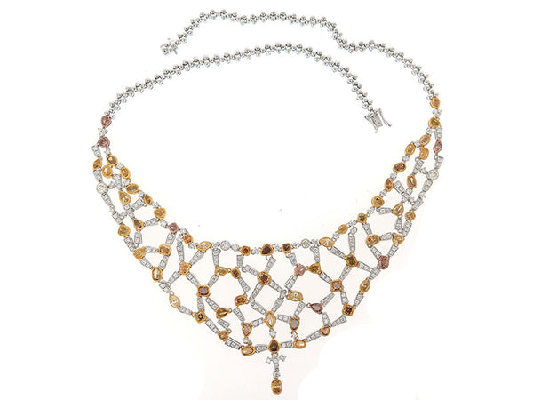 18kwy Diamond 4.67 Yellow Diamond Necklace 13.78