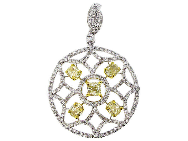 18kyw Diamond 1.03 Yellow Diamond 1.55 Pendant