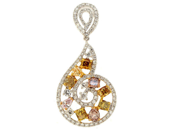 18kw Diamond 0.79 Fashion Color Diamond 1.33 Pendant With Chain