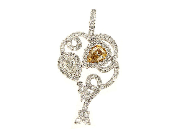 18kw Diamond 1.36 Yellow Diamond 0.79 Pendant