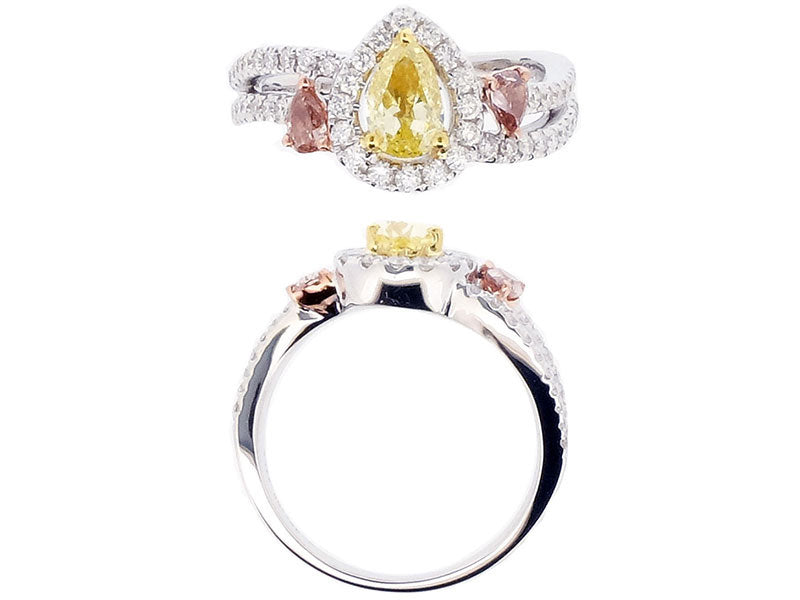 18kwy Diamond 0.42 VS Good SI Yellow Diamond 0.90 Ring