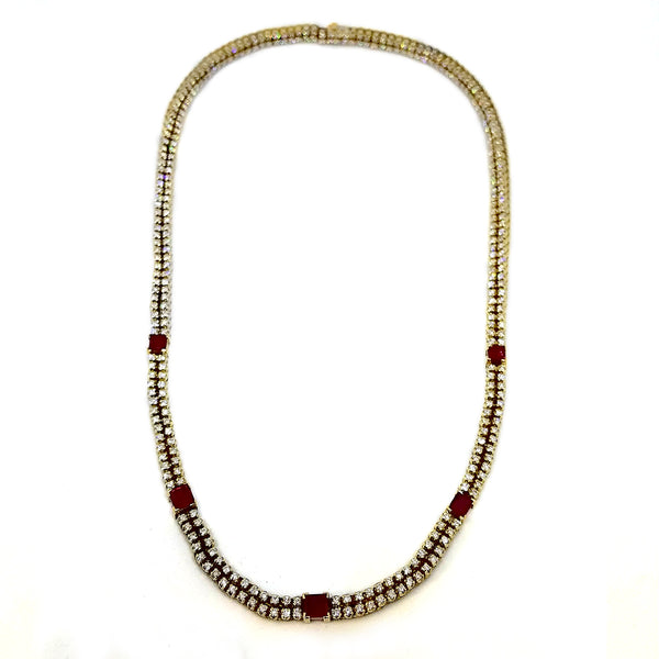 14K Yellow Gold Diamond Ruby Hint Necklace.